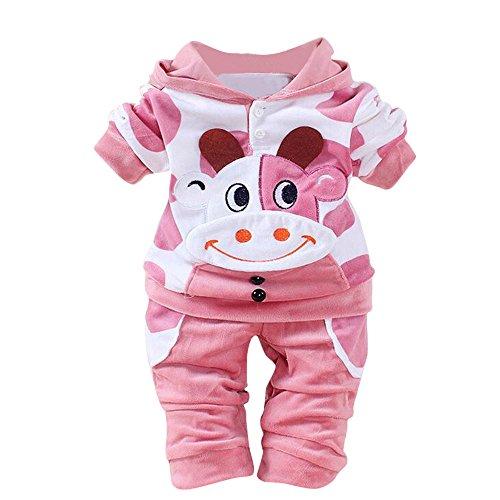Covermason Bebé Unisex Lindo Vaca Impresión Sudaderas con capucha y Pantalones (2PCS/1 Conjunto) (0-6M, Rosado)