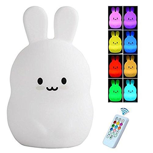 Lámpara de noche LED con temporizador remoto, Luz de noche conejito silicona niños, bebé lámpara de mesilla de noche, cálido blanco/8-color cambiar luz de cuarto de niños niños niñas, recargable USB