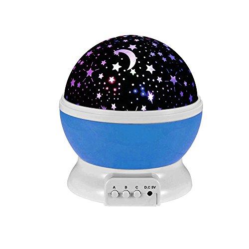 Lámpara de Noche,Sunvito Romántica Rotación de Estrellas Luna Cielo Proyector a Bebés Niños Dormitorios(4 Gotas Brillantes LED 3 Modelo de Luz Cargadas por Patería de DC5V/AAA y USB Cable) (Azul)