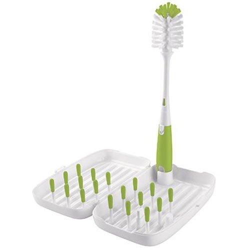 Oxo TOT6230700 - Set de escurridor viaje y cepillo biberones, color verde