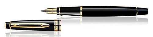 Waterman Expert - Pluma estilográfica y estuche (adornos dorados, punta media), color negro