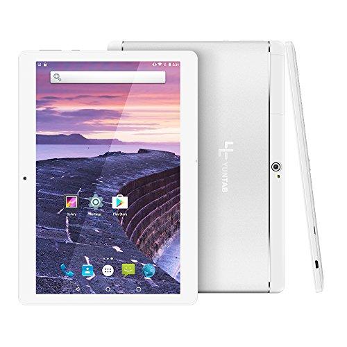 Yuntab 10.1 pulgadas 3G Wifi Tablet PC Aleación Metal atrás Quad-Core Android 5.1 Lollipop desbloqueado Smartphone 1GB + 16GB MTK 6580 Pad con Doble Cámara 0.3MP + 2MP, Dual SIM Card Slots, Bluetooth, GPS, WIFI, USB OTG, Google Play Store, Youtube Netflix, Pantalla táctil IPS 1280X800 Batería 5000Mha (plata)